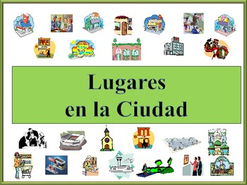 Spanish City Location Vocabulary Powerpoint with Practice
