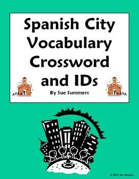 Spanish City Vocabulary Crossword, Image IDs, and Vocabulary