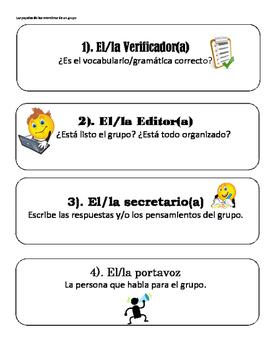 Spanish Class Group Member Roles / Los papeles de los miem