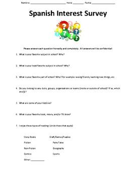 Spanish Class Student Interest Survey