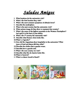 Spanish Class Video Guide for Saludos Amigos Movie by Disney