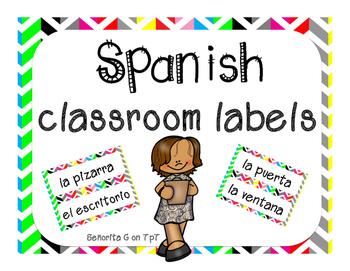 Spanish Classroom Labels - Rainbow
