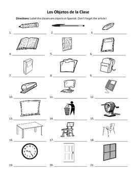Spanish Classroom Objects Labeling Worksheet