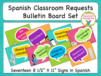 Spanish Classroom Requests Bulletin Board Set