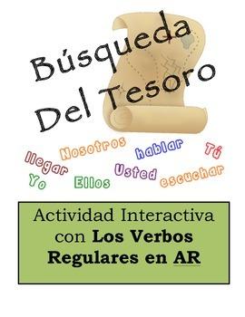 Spanish Regular AR Verbs Scavenger Hunt Activity