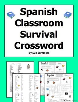 Spanish Classroom Survival Crossword Puzzle, Vocabulary an
