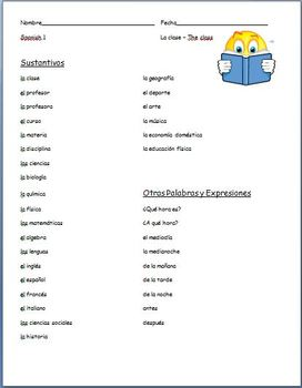 Spanish - Classroom, Time and Activities Vocabulary Sheet