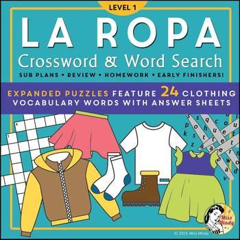Spanish Clothing (Expanded) La Ropa Vocabulary Crossword P