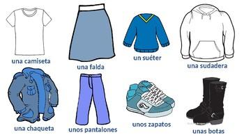 Spanish Clothing (La ropa) - 8 common items