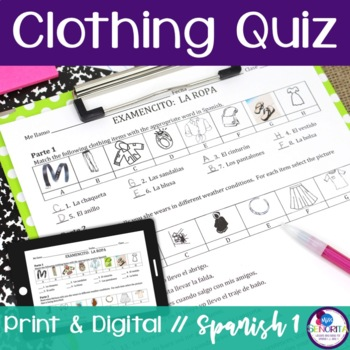 Spanish Clothing Quiz