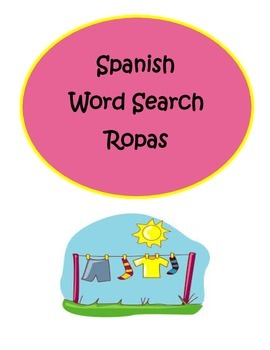 Spanish Clothing Ropas Word Search Puzzle