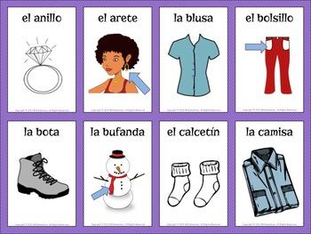 Spanish Clothing Vocabulary Cards