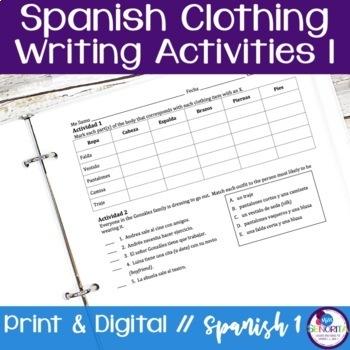 Spanish Clothing Writing Activities 1