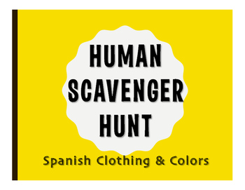 Spanish Clothing and Colors Human Scavenger Hunt