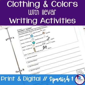 Spanish Clothing and Colors with Llevar Writing Activities