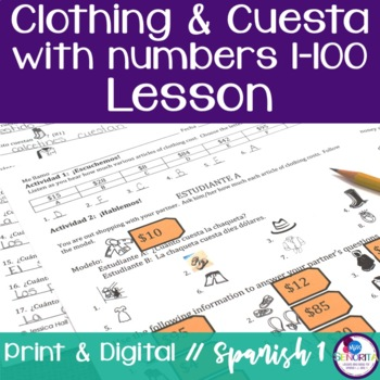 Spanish Clothing and Cuesta with Numbers 1-100 Lesson