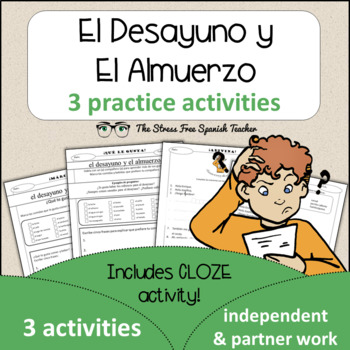 Spanish Cloze Printable, Differentiated, Vocabulary: Lunch
