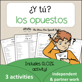 Spanish Cloze Printable, Differentiated, Vocabulary: Oppos