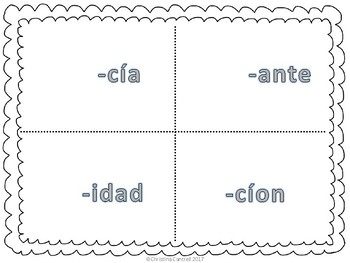 Spanish Cognates Cognados Identifying by Suffix Seek and Sort