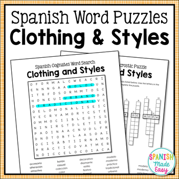 Clothing and Styles Spanish Word Puzzles