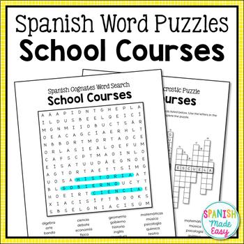Spanish Cognates: School Courses Word Search