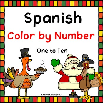 Spanish Color by Number Thanksgiving  Fall / Holiday Theme