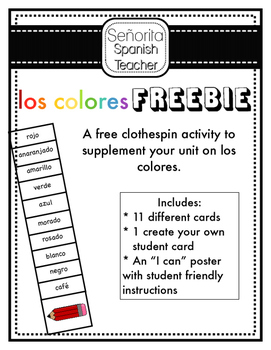 Spanish Colors Clothespin FREEBIE