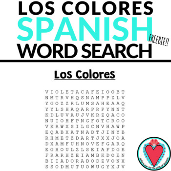 Spanish Colors WORD SEARCH