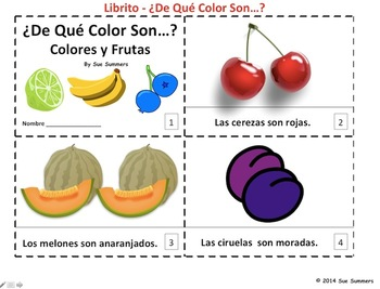 Spanish Colors and Fruit Plurals 2 Emergent Readers - Colo