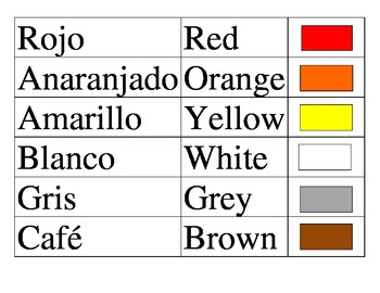 Spanish Colors chart and matching game