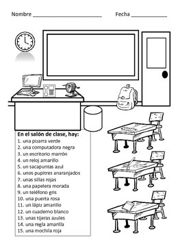 Spanish Colors with School Vocabulary Worksheets