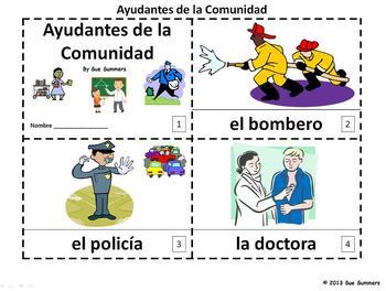 Spanish Community Helpers 2 Emergent Readers - Ayudantes d