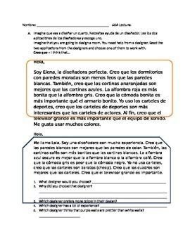 Spanish Comparisons Reading