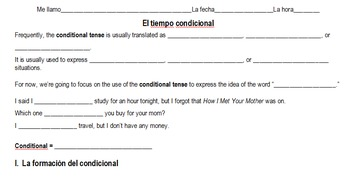 Spanish Conditional Introduction Notes & Worksheet