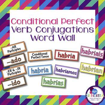 Spanish Conditional Perfect Tense Verb Conjugations Bullet