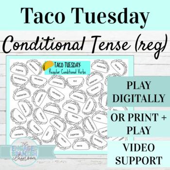 Spanish Conditional Tense TACO TUESDAY Conjugation Game, E