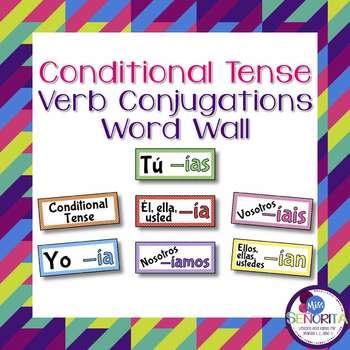 Spanish Conditional Tense Verb Conjugations Word Wall & Bu