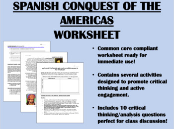 Spanish Conquest of the Americas worksheet - Global/World