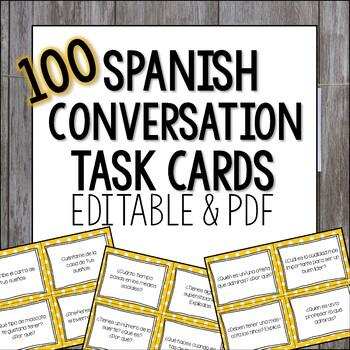 Spanish Conversation Task Cards Present Tense - Spanish Sp