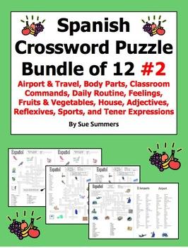 Spanish Crossword Puzzle BUNDLE of 12 - Airport, Body Part