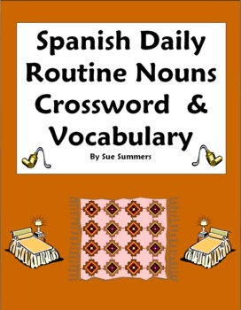 Spanish Daily Routine Crossword Images Word List - Substit