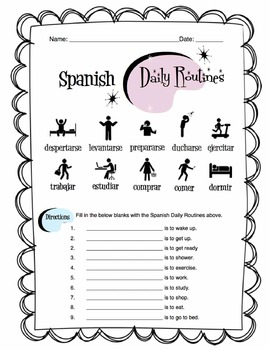Spanish Daily Routines Worksheet Packet