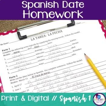 Spanish Date (La Fecha) Homework