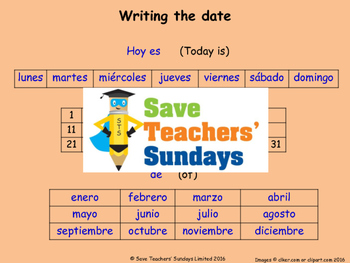Spanish Dates Lesson plan, PowerPoint (with audio), Cards