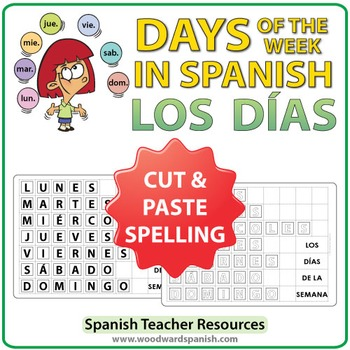 Spanish Days Spelling - Cut and Paste Activity