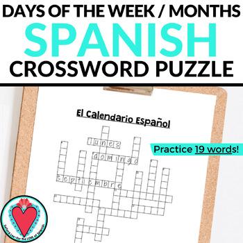 Spanish Calendar CROSSWORD - Days of the Week & Months of