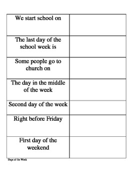 Spanish Days of the Week Table (fill in)