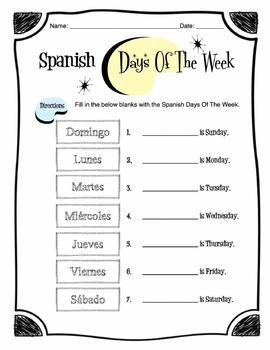 Spanish Days of the Week Worksheet Packet