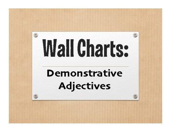 Spanish Demonstrative Adjective Wall Charts