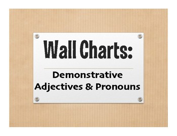 Spanish Demonstrative Pronoun Wall Charts
